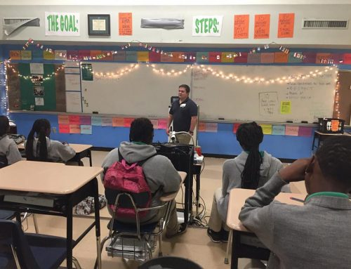 Taylor Stone speaks to high school student about human rights…